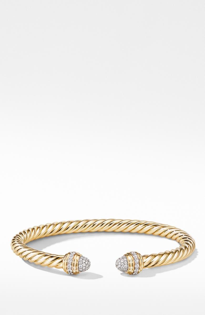 DAVID YURMAN Cable Cuff Bracelet with Diamonds, Main, color, GOLD/ DIAMOND
