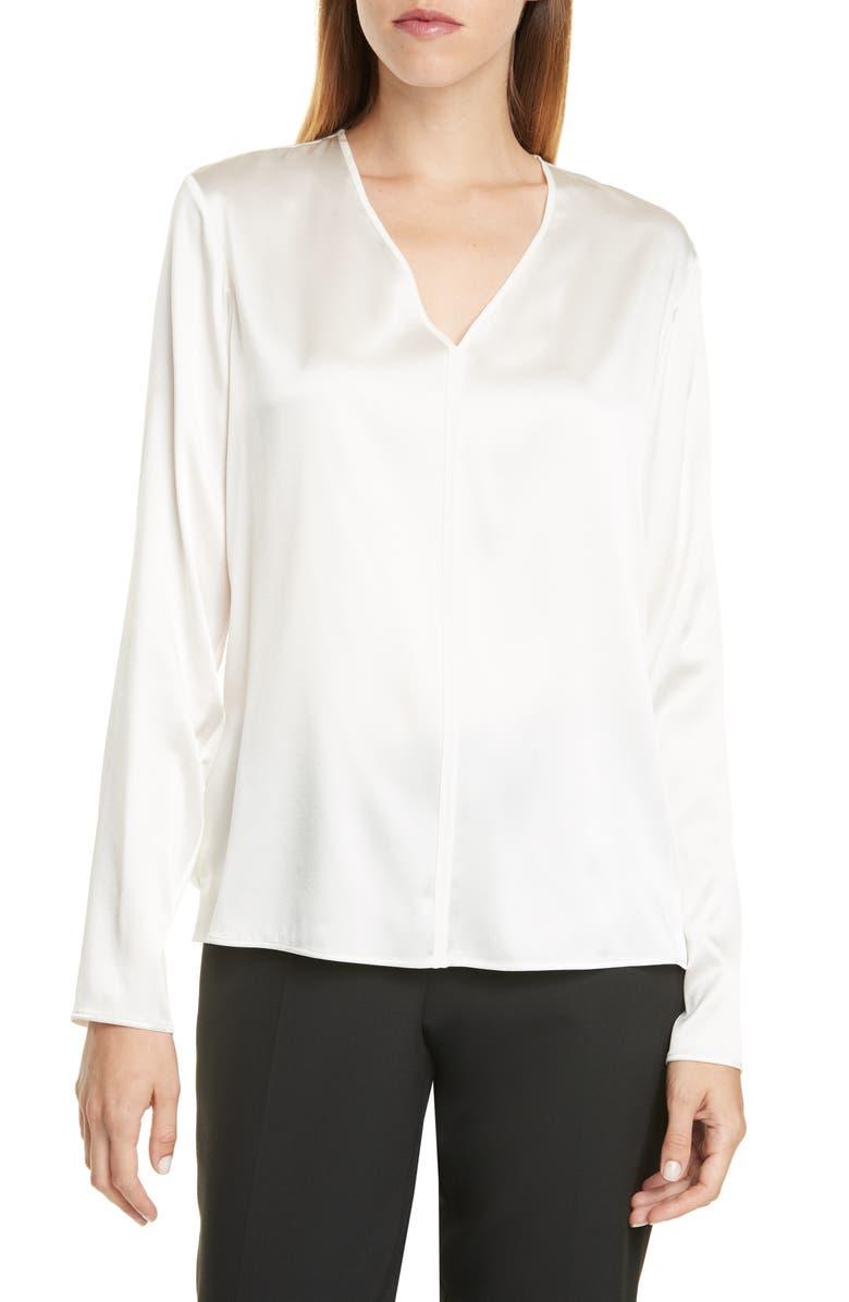 BOSS Ivala V-Neck Stretch Silk Blouse, Main, color, 100