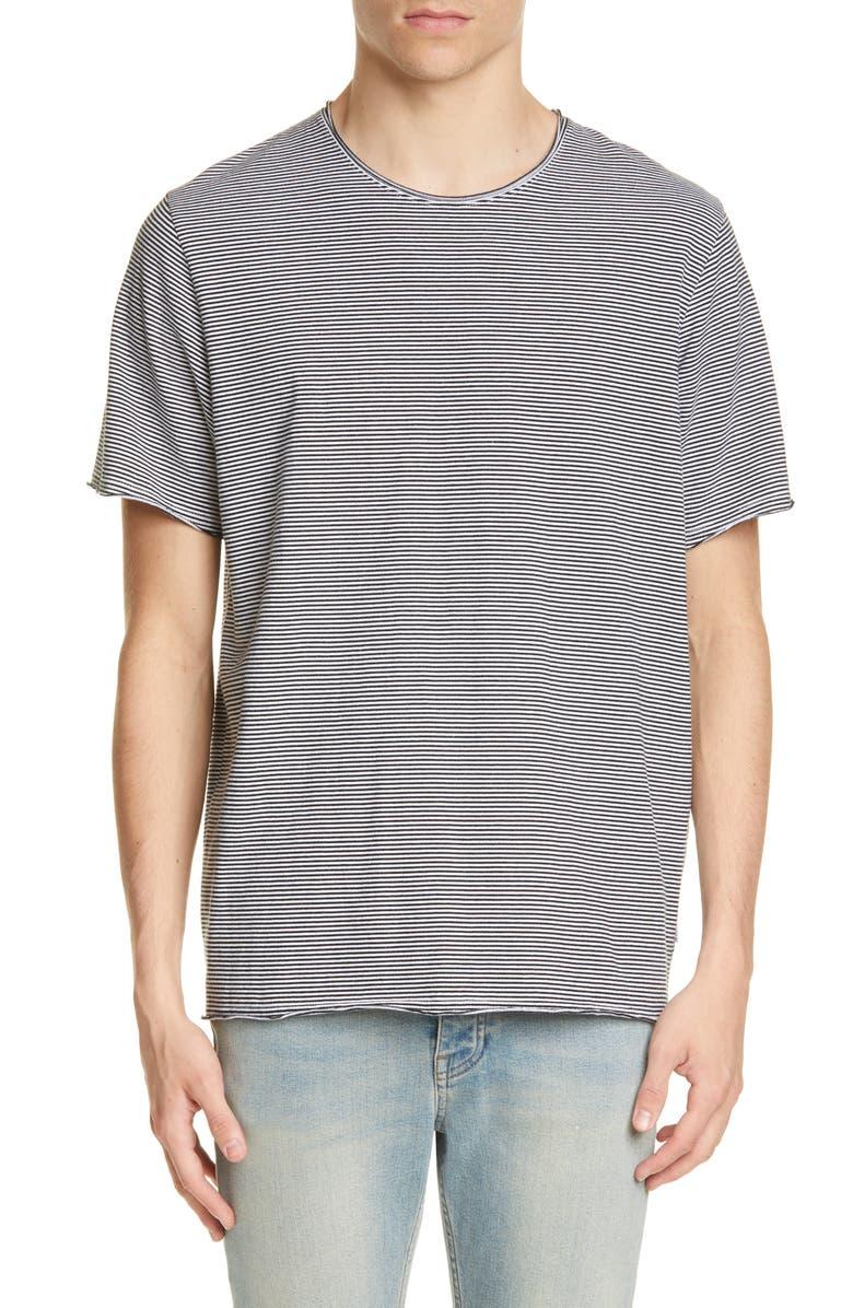 OVADIA & SONS Stripe Raw Edge Jersey T-Shirt, Main, color, BLACK/ CREAM