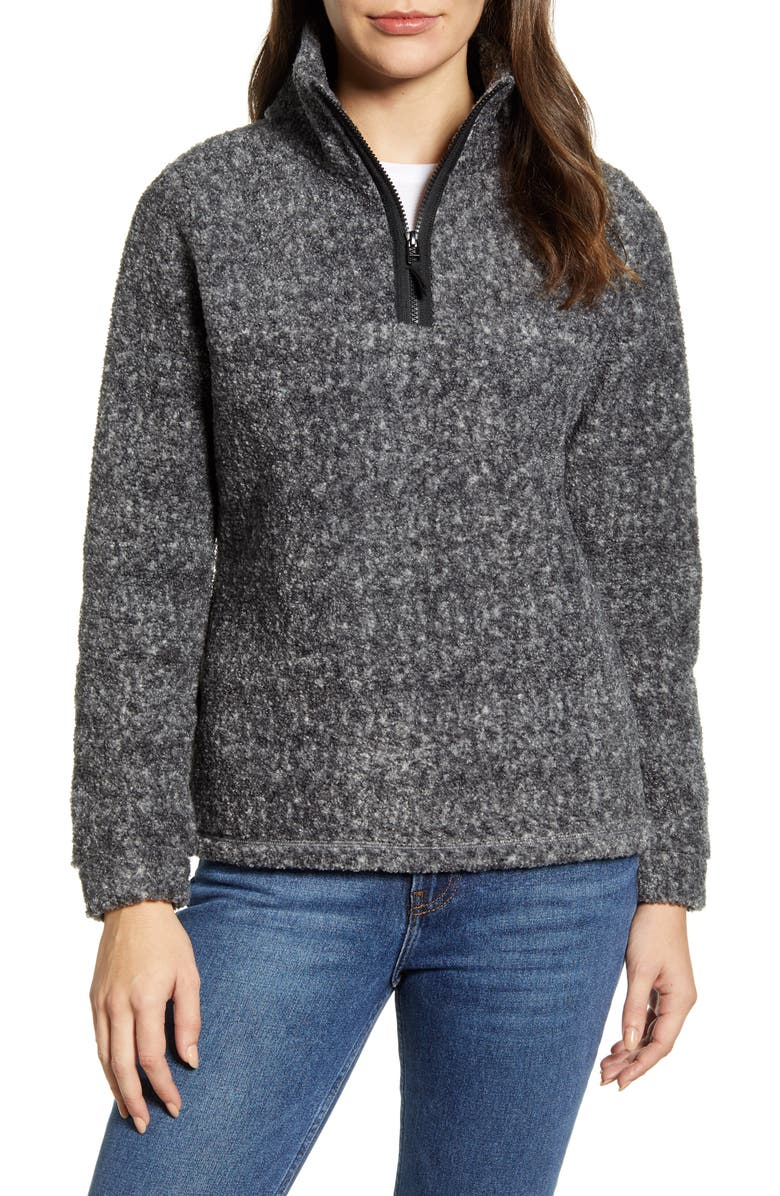 CASLON<SUP>®</SUP> Quarter Zip Fleece Pullover, Main, color, GREY HEATHER