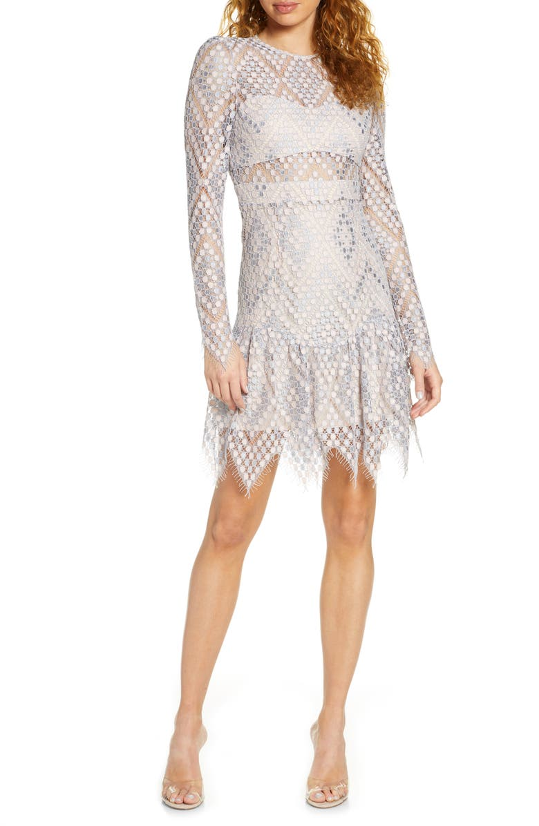 FOXIEDOX Clara Crochet Lace Long Sleeve Cocktail Dress, Main, color, GREY PINK MULTI