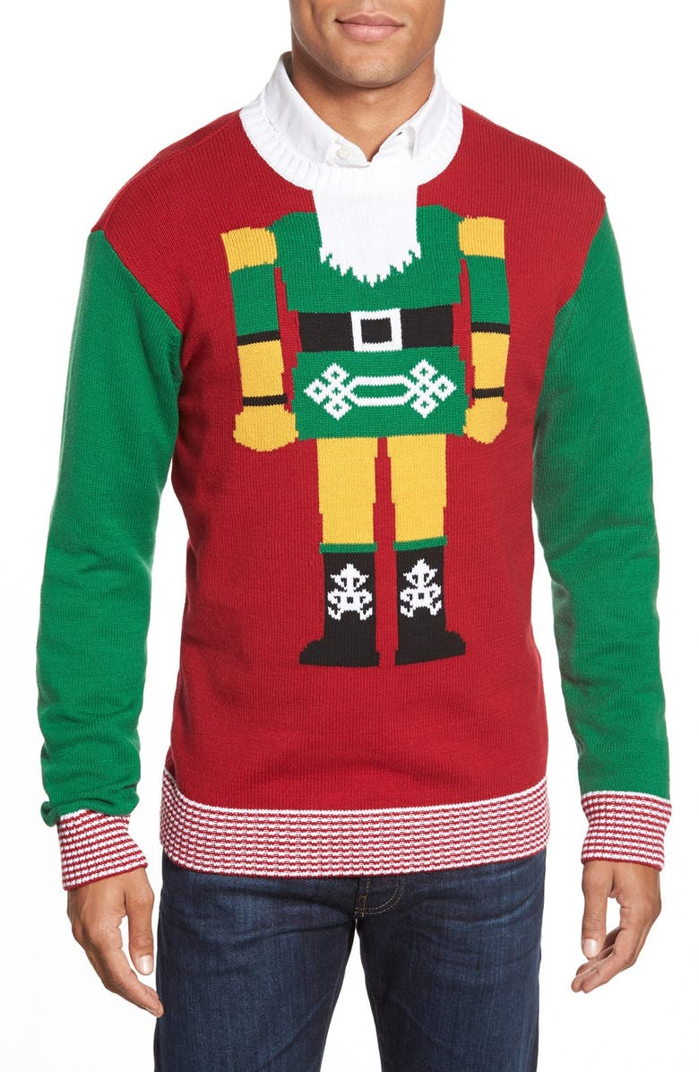 UGLY CHRISTMAS SWEATER 'Nutcracker Face' Holiday Crewneck Sweater, Main, color, 600