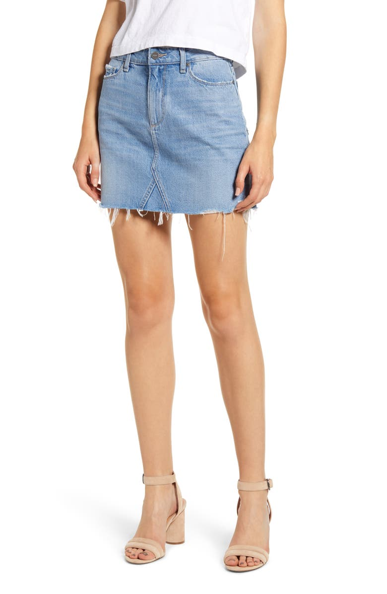 PAIGE Alethea Raw Hem Denim Miniskirt, Main, color, BEAUDRY DISTRESSED