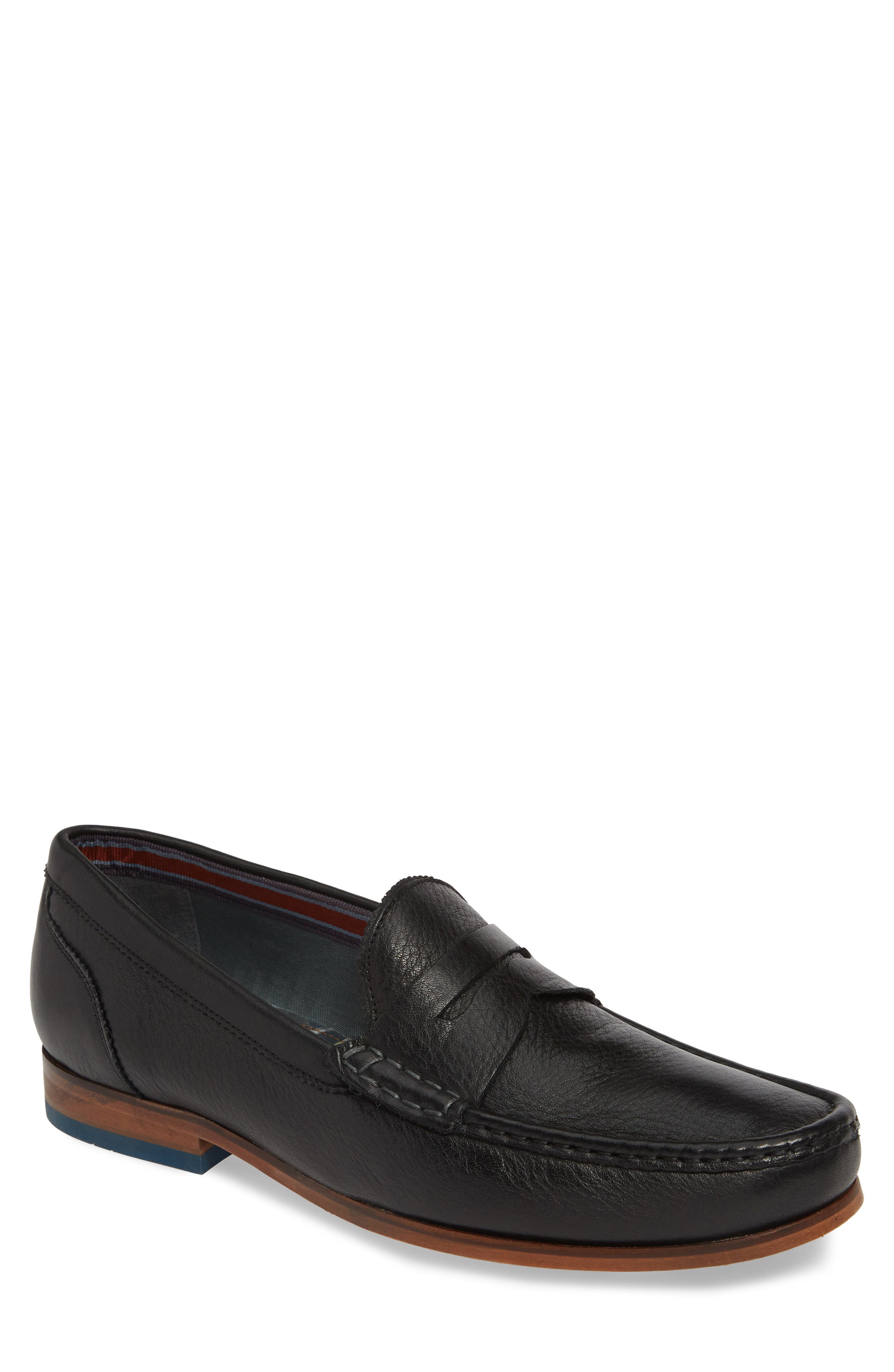,                             Shornal Penny Loafer,                             Main thumbnail 1, color,                             BLACK LEATHER
