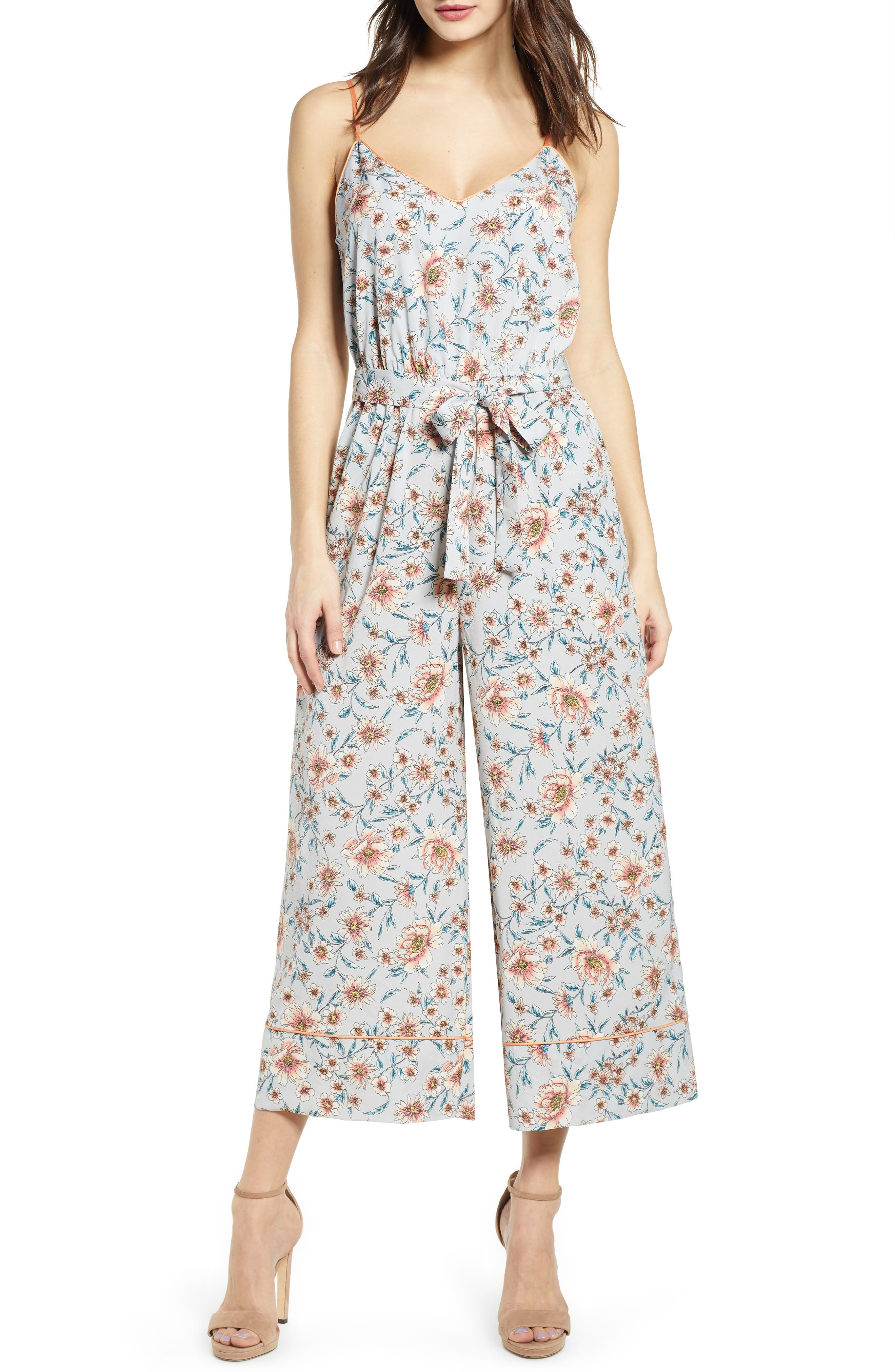 Piped Cami Jumpsuit, Main, color, GREY KELSEY FLORAL