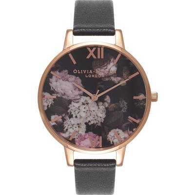 Olivia Burton Signature Florals Leather Strap Watch,