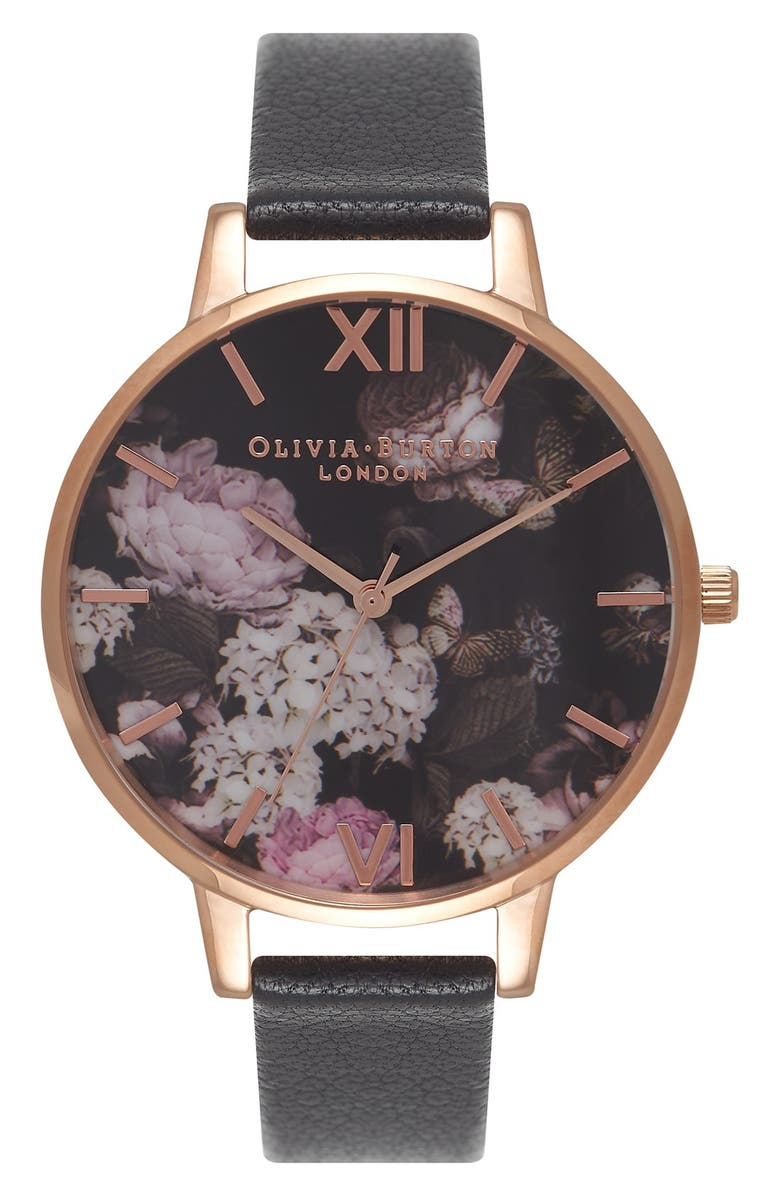OLIVIA BURTON Signature Florals Leather Strap Watch, 38mm, Main, color, BLACK/ BLACK
