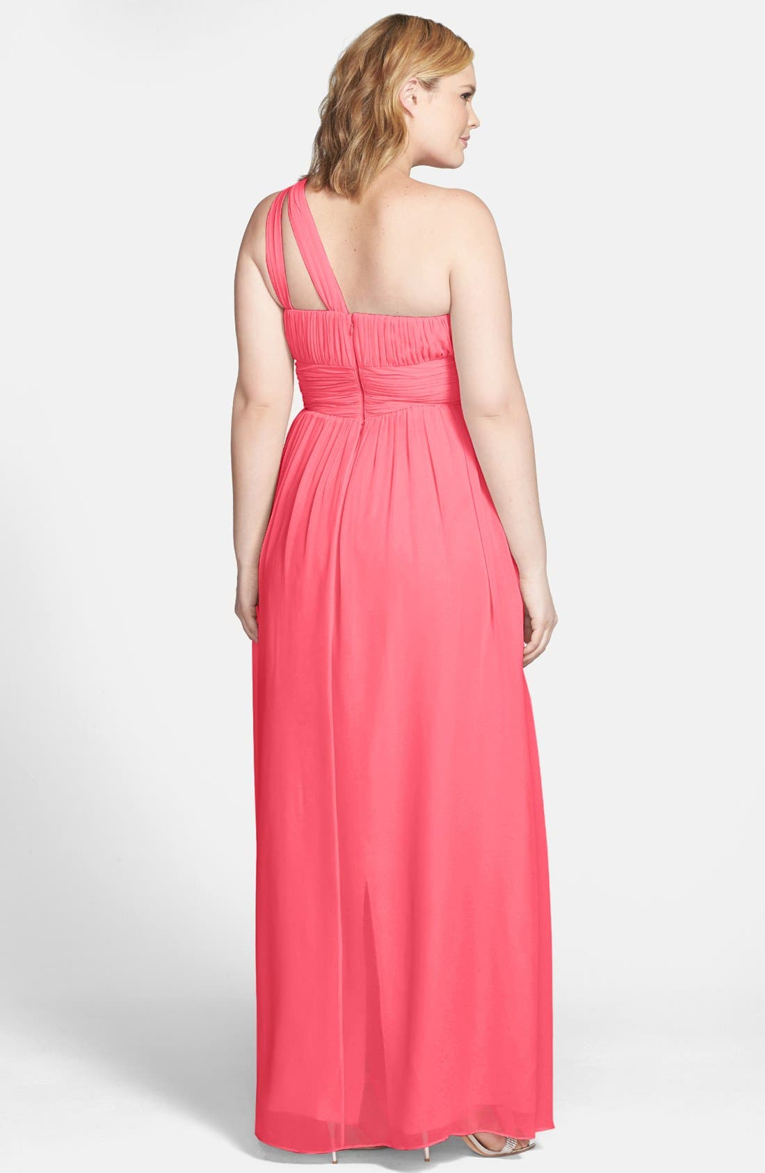 ,                             'Rachel' Ruched One-Shoulder Chiffon Gown,                             Alternate thumbnail 132, color,                             805