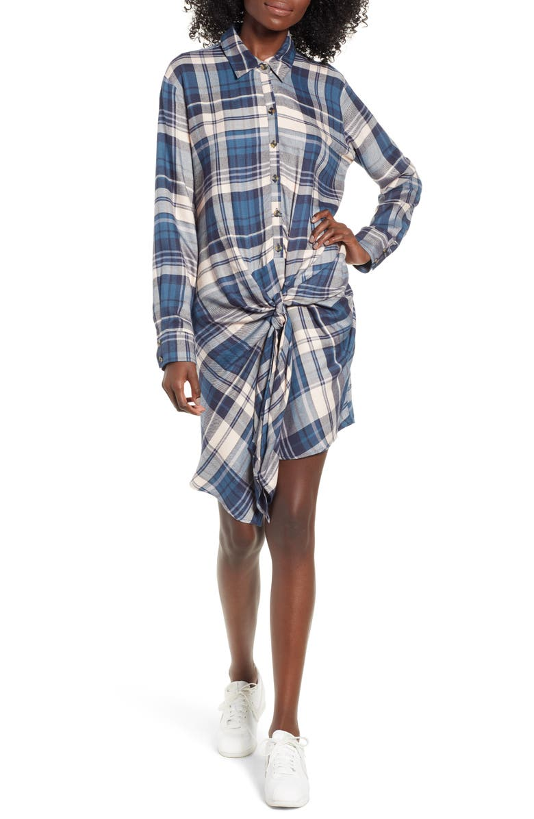 SOCIALITE Plaid Tie Waist Shirtdress, Main, color, 461