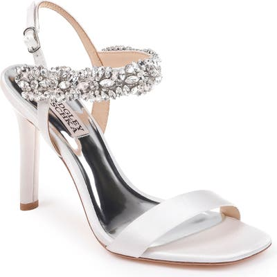 Badgley Mischka Lilly Embellished Sandal- White