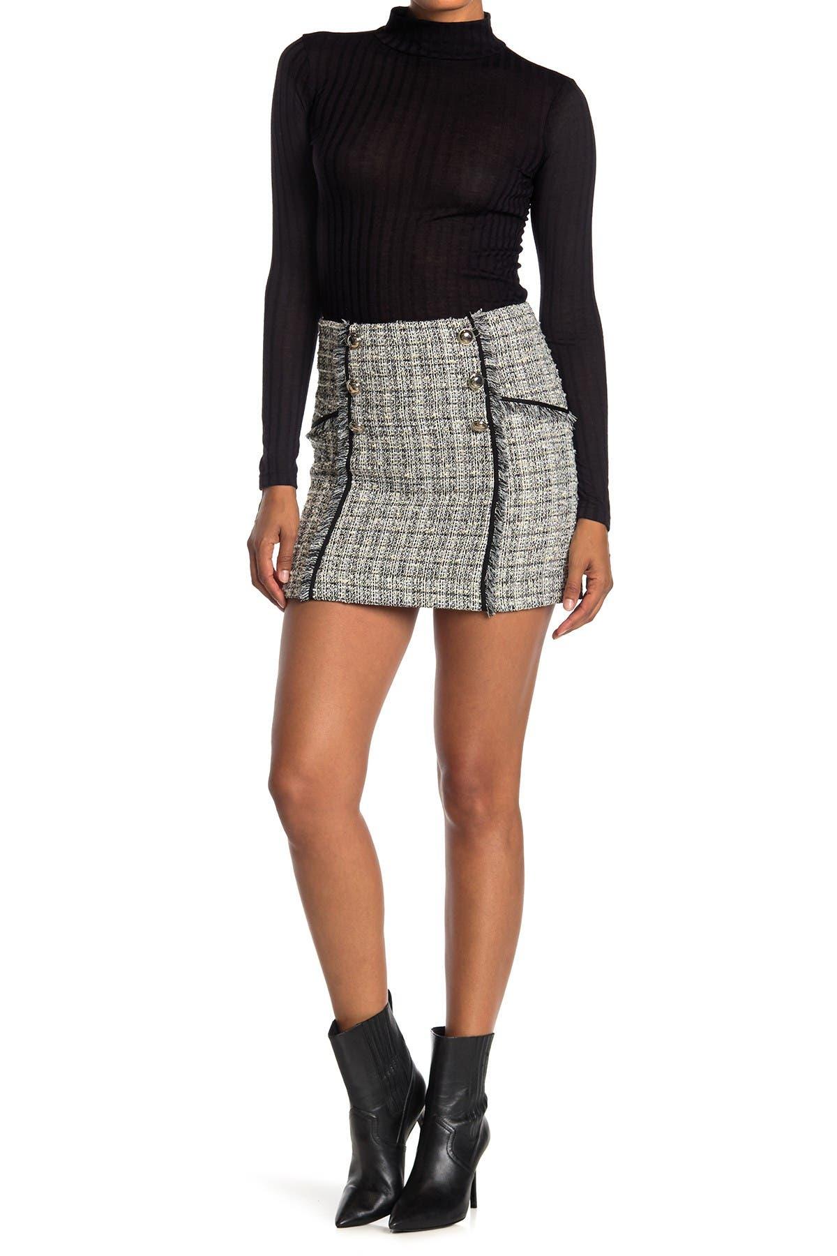Image of VERONICA BEARD Starck Tweed Button Front Mini Skirt