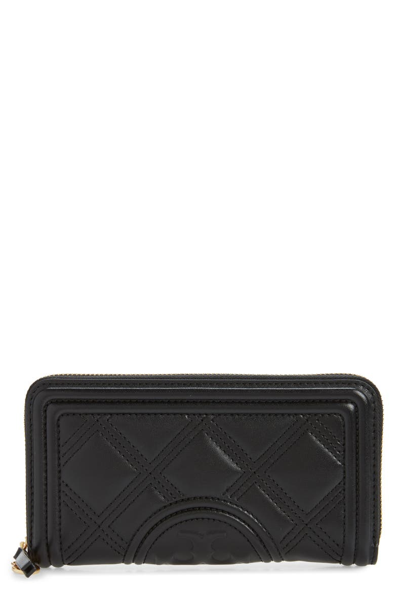 TORY BURCH Fleming Quilted Leather Continental Wallet, Main, color, BLACK
