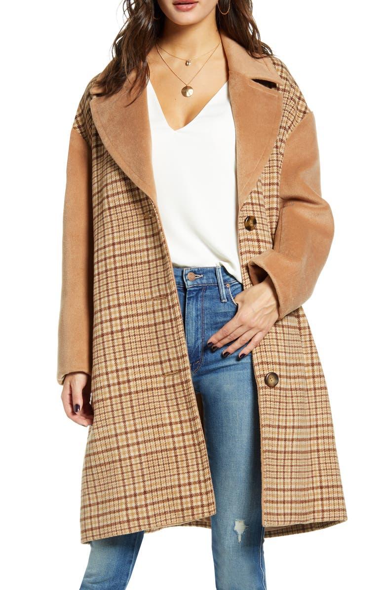 MURAL Plaid Longline Coat, Main, color, 250