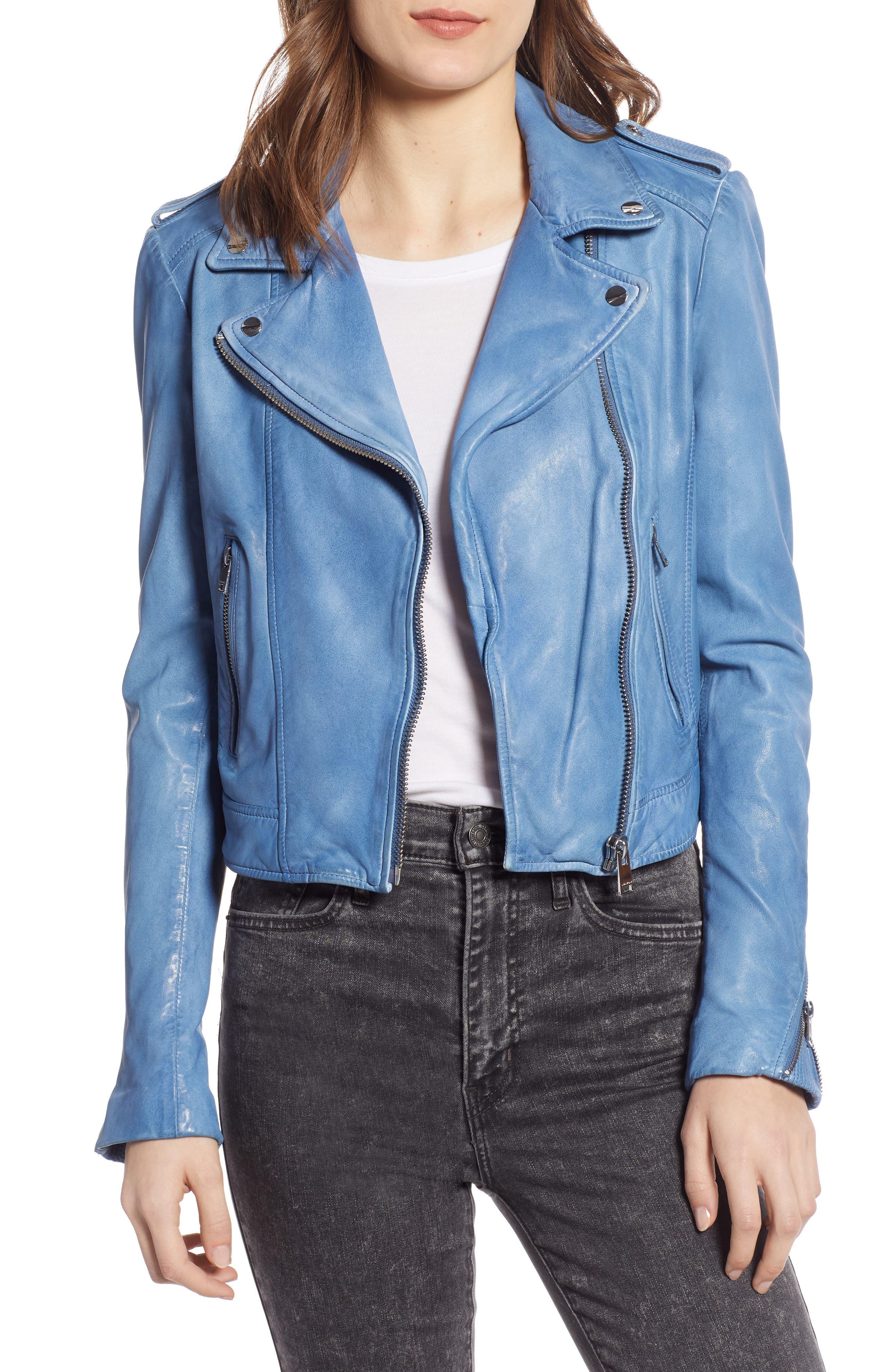 Donna Lambskin Leather Moto Jacket, Main, color, FADED DENIM