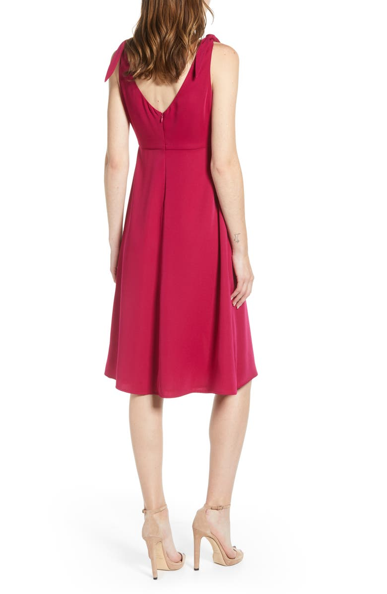 CUPCAKES AND CASHMERE Tie Shoulder Crepe Dress, Alternate, color, FUCHSIA