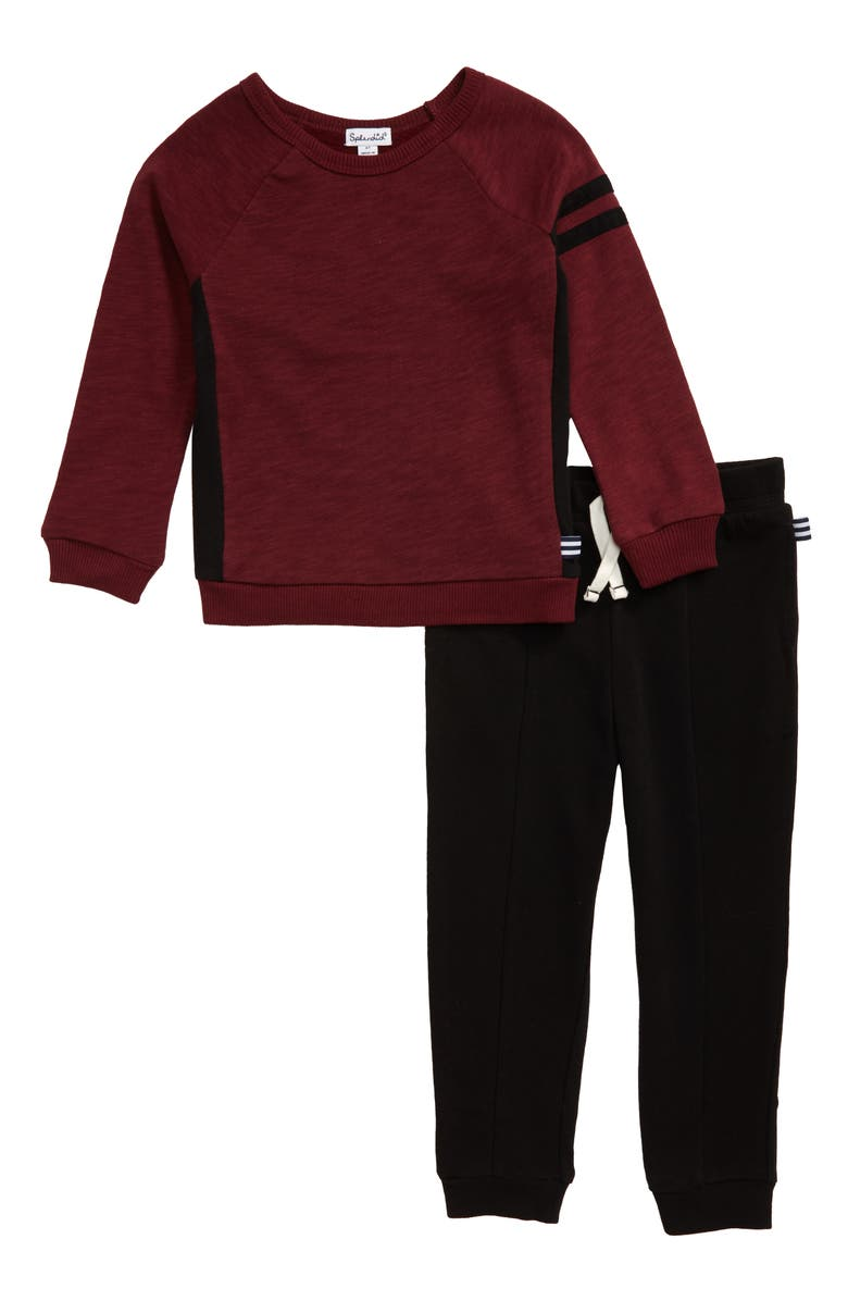 SPLENDID Varsity Sweatshirt & Sweatpants Set, Main, color, CHOCOLATE/ BURGUNDY