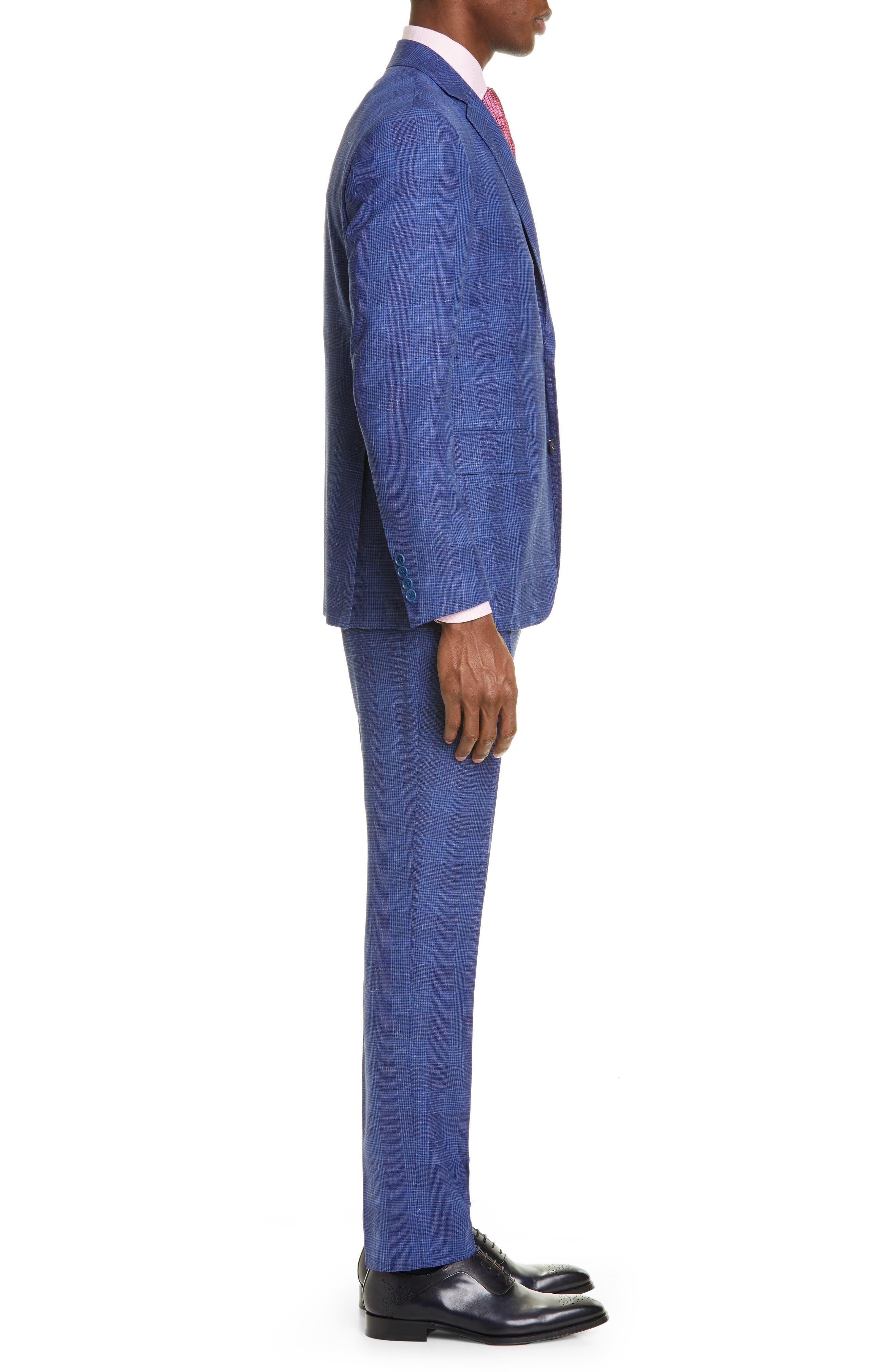 ,                             Kei Trim Fit Plaid Wool Blend Suit,                             Alternate thumbnail 3, color,                             BRIGHT BLUE