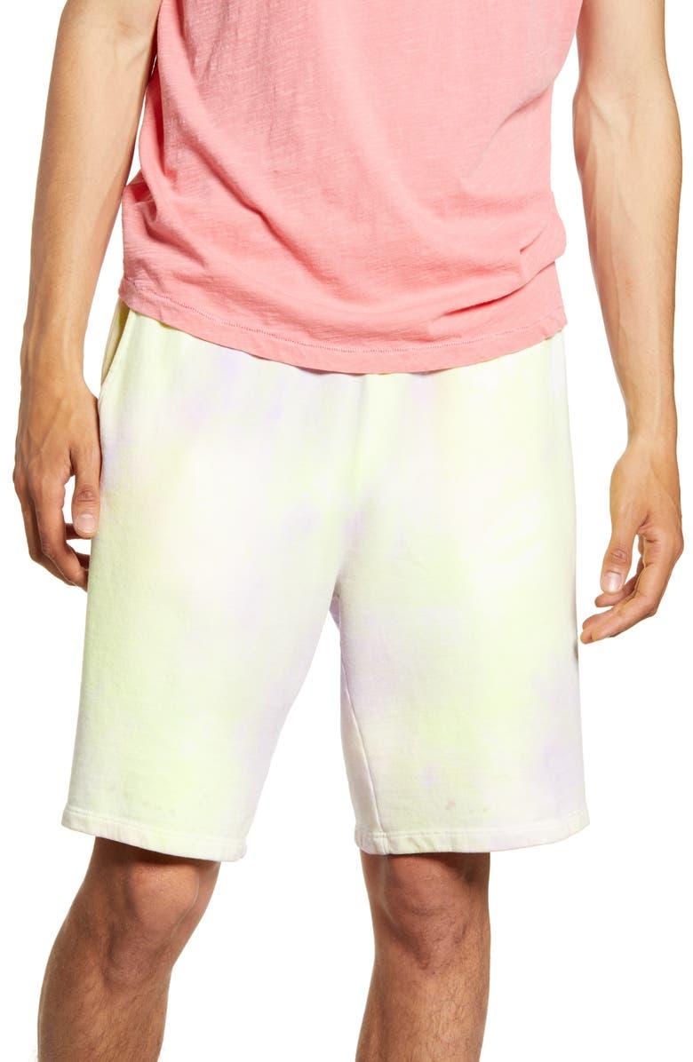 TOPMAN Holi Tie Dye Shorts, Main, color, YELLOW MULTI