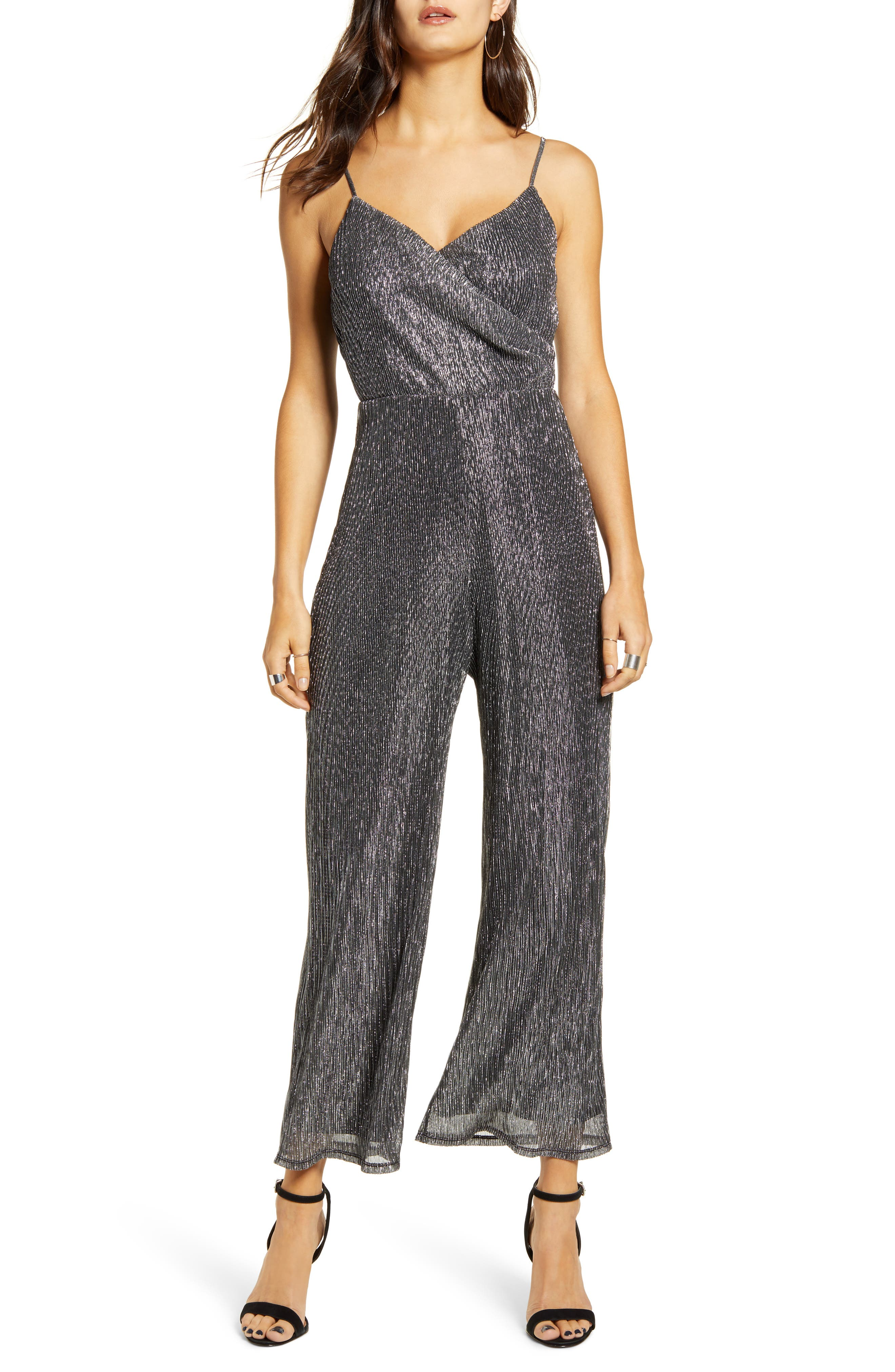 70s Jumpsuit | Disco Jumpsuits, Sequin Rompers Womens All In Favor Metallic Wrap Sleeveless Jumpsuit $38.98 AT vintagedancer.com