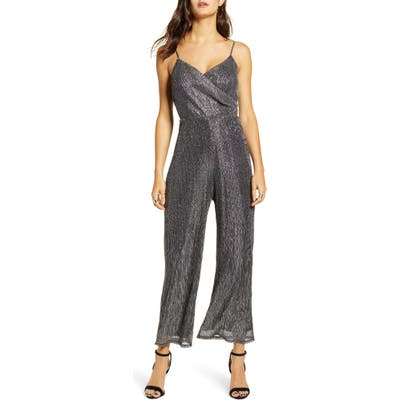 All In Favor Metallic Wrap Sleeveless Jumpsuit, Metallic