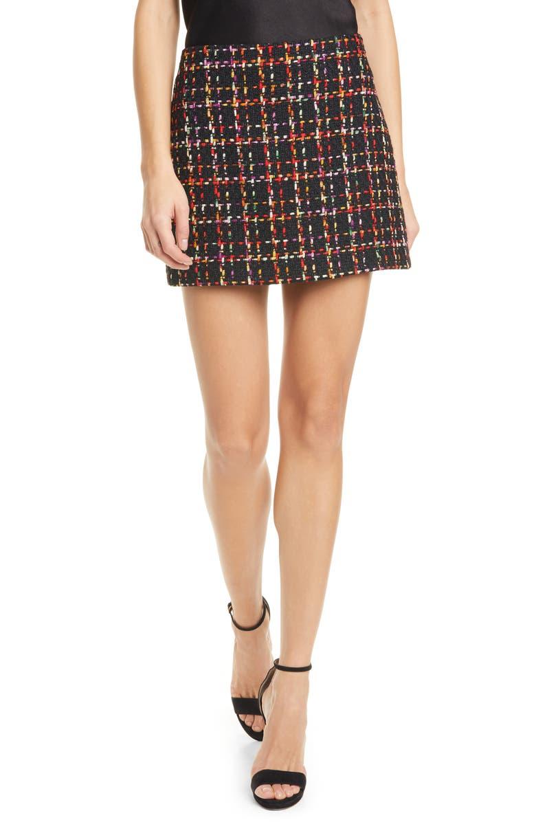 ALICE + OLIVIA Elana Tweed Miniskirt, Main, color, 008
