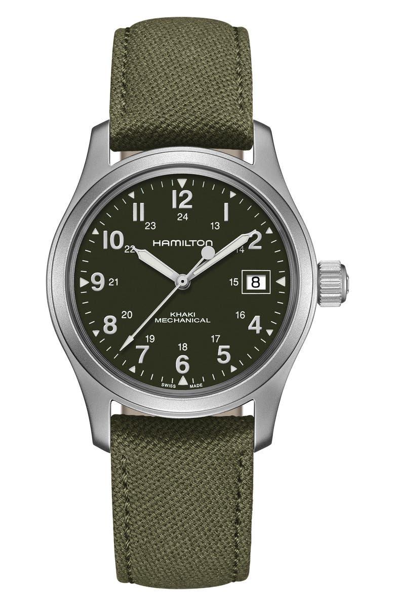 HAMILTON Khaki Field Canvas Strap Watch, 38mm, Main, color, GREEN/ SILVER