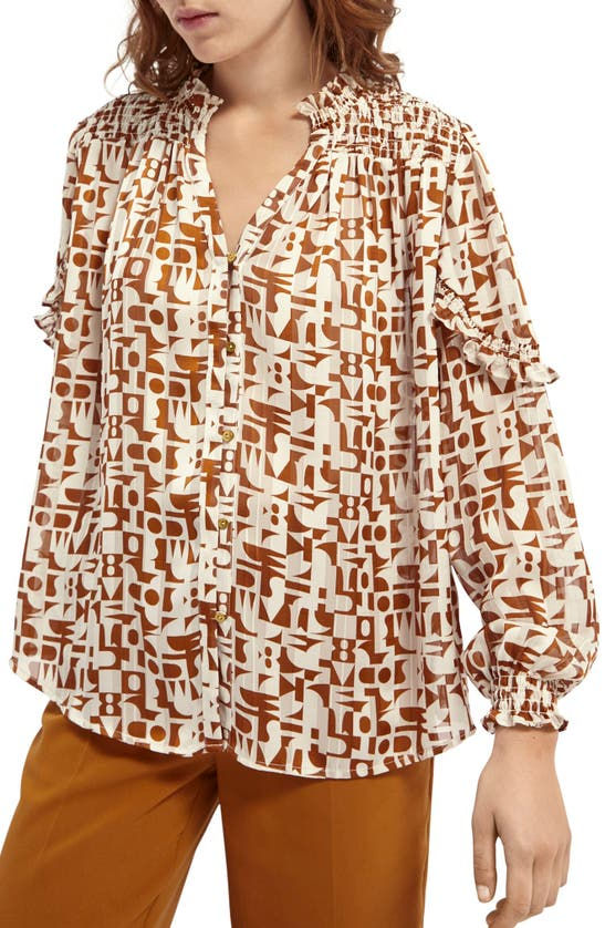 Scotch & Soda SMOCKED RUFFLED SLEEVE PRINTED BLOUSE