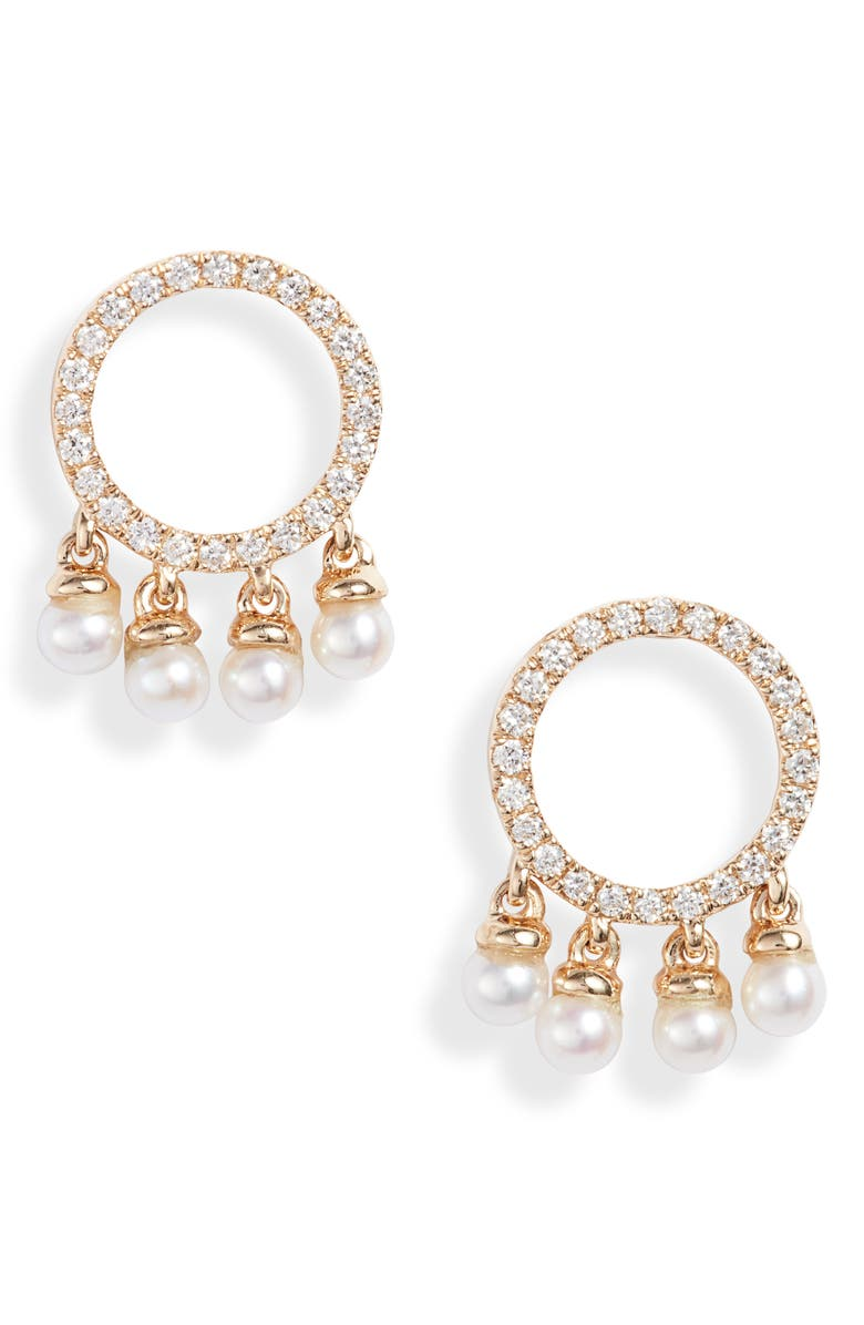 DANA REBECCA DESIGNS Pearl Ivy Circle Stud Earrings, Main, color, YELLOW GOLD/ DIAMOND