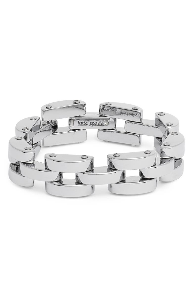 KATE SPADE NEW YORK sliced scallops chain bracelet, Main, color, SILVER