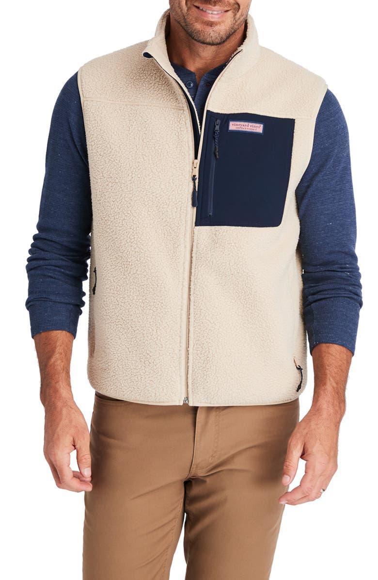 VINEYARD VINES Stillwater High Pile Fleece Vest, Main, color, CAMEL