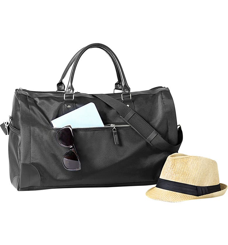 CATHY'S CONCEPTS Monogram Duffel/Garment Bag, Main, color, BLACK