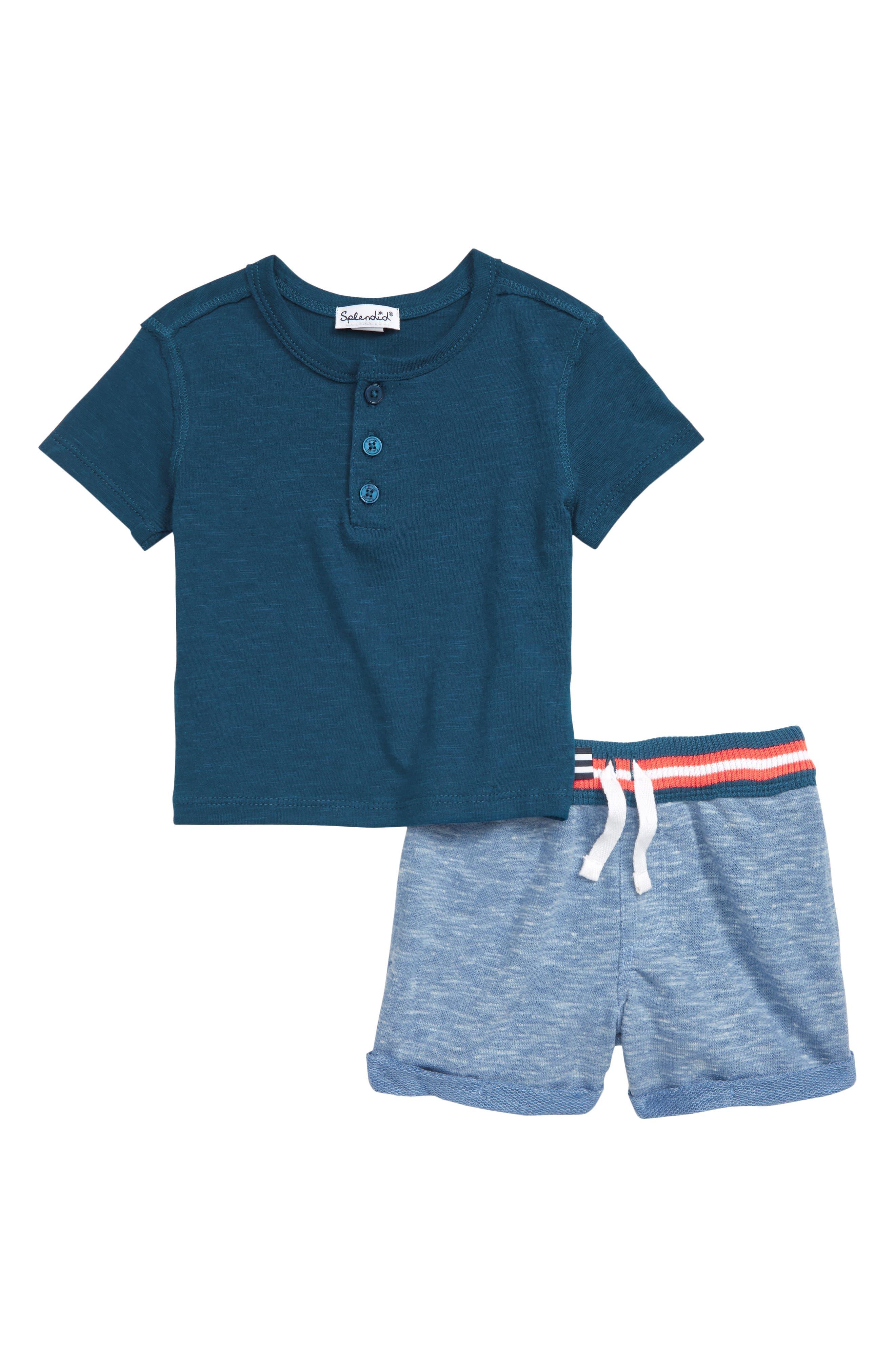 Henley Shirt & Stripe Shorts Set, Main, color, FRESH INK