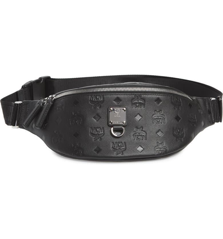 MCM Fursten Visetos Leather Belt Bag, Main, color, BLACK