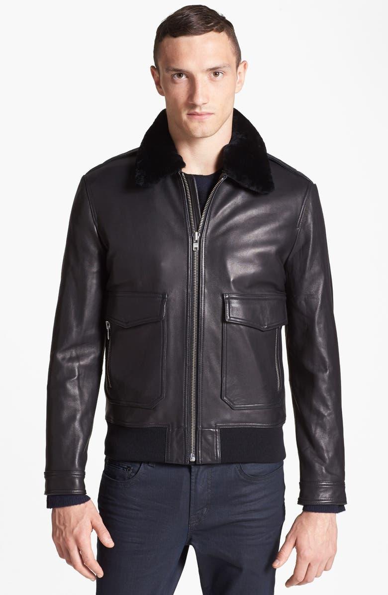 4ea13fca9 The Kooples Genuine Lambskin Leather Bomber Jacket | Nordstrom