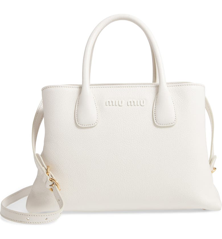 MIU MIU Goatskin Leather Top Handle Tote, Main, color, BIANCO