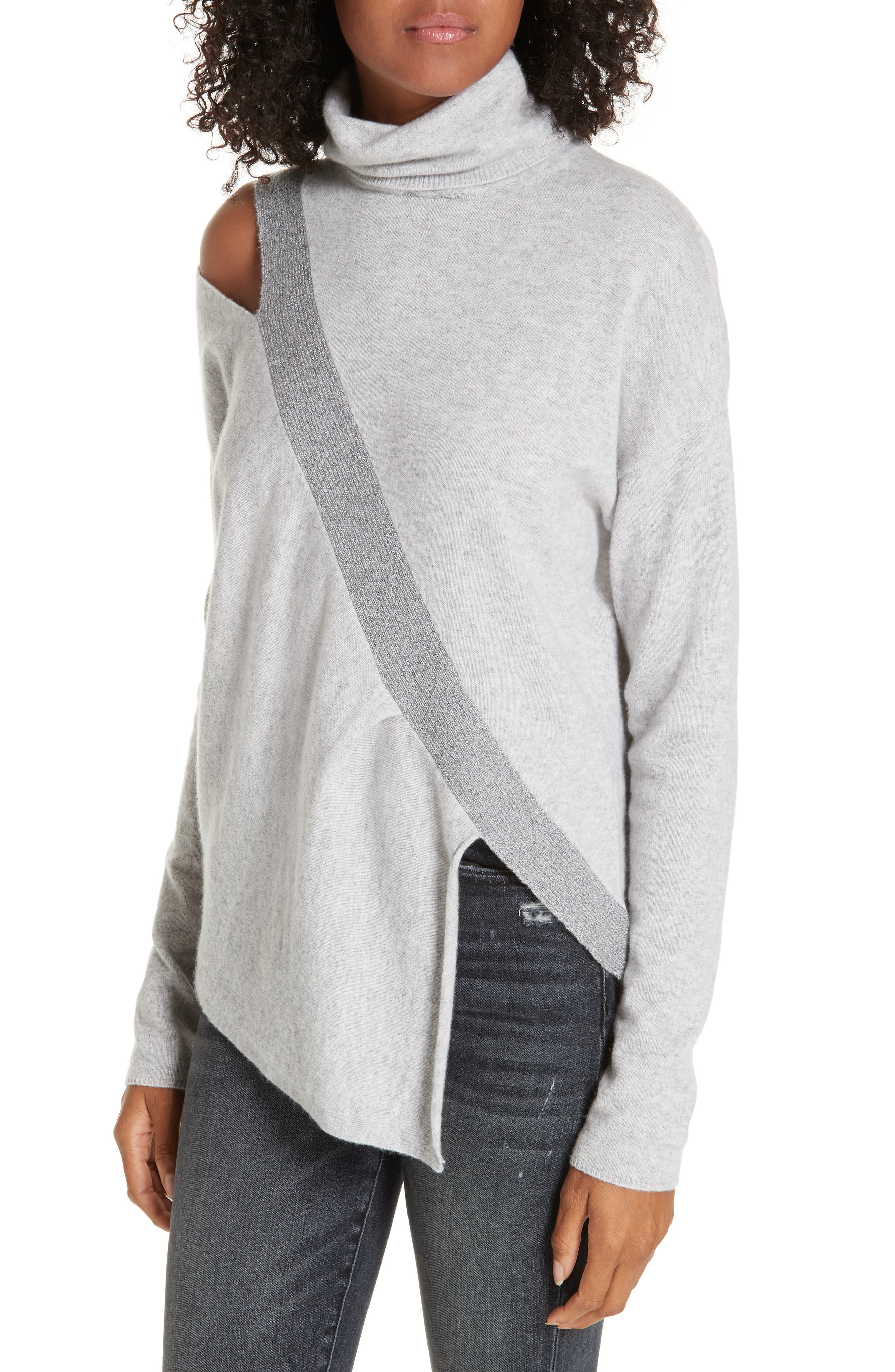 ,                             Fae Cold Shoulder Asymmetrical Cashmere Blend Sweater,                             Alternate thumbnail 4, color,                             ARCTIC GREY COMBO