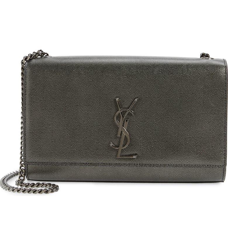 SAINT LAURENT Medium Kate Metallic Leather Shoulder Bag, Main, color, DARK LEAD