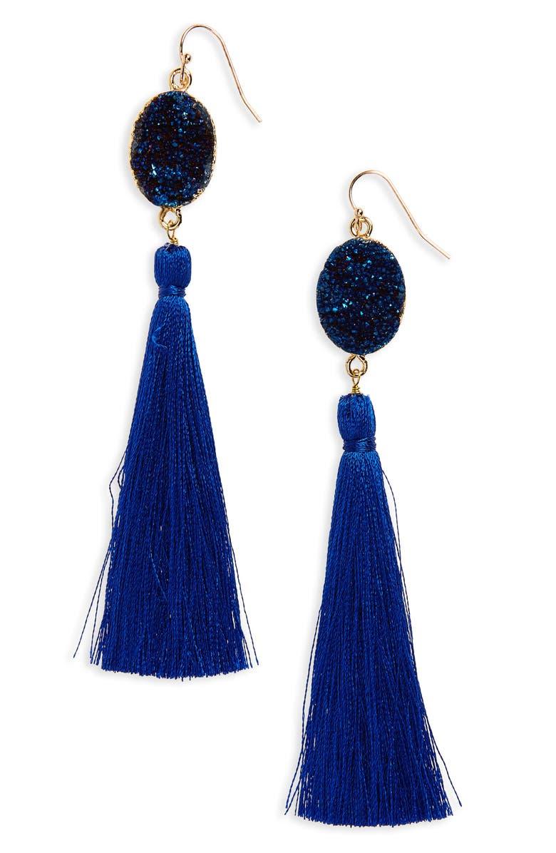 PANACEA Drusy Tassel Earrings, Main, color, 410