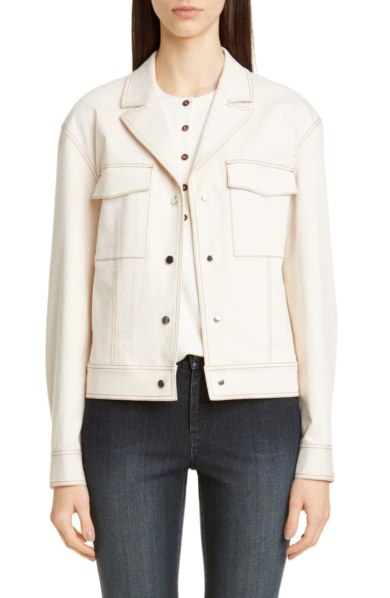 LAFAYETTE 148 NEW YORK Theodosia Denim Jacket, Main, color, NATURAL