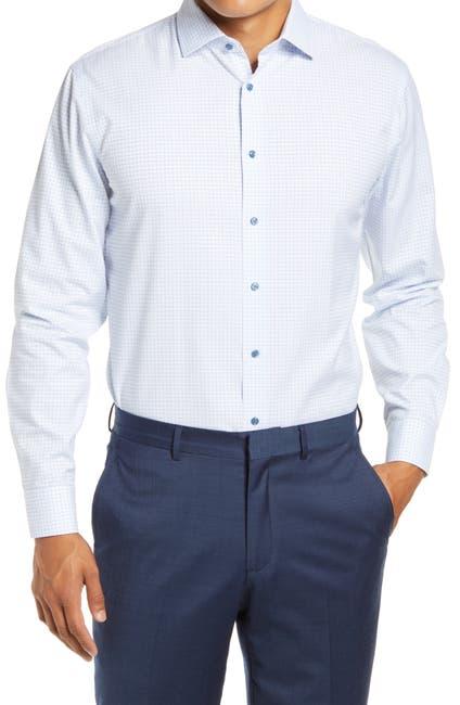 Image of NORDSTROM MEN'S SHOP Trim Fit Non-Iron Plaid Stretch Dress Shirt