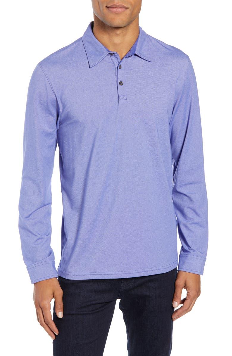 ZACHARY PRELL Benton Long Sleeve Polo, Main, color, LIGHT GRAPE