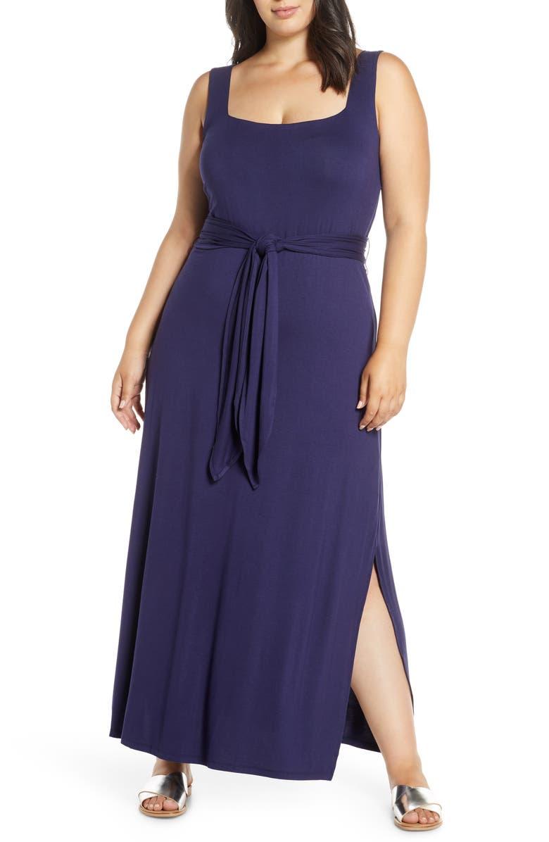 ELOQUII Tie Waist Maxi Dress, Main, color, MARITIME