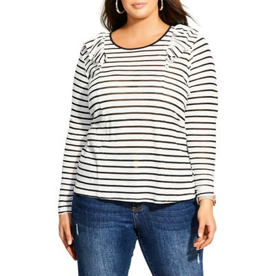 Plus Size City Chic Nautical Ruffle Long Sleeve Tee, Black