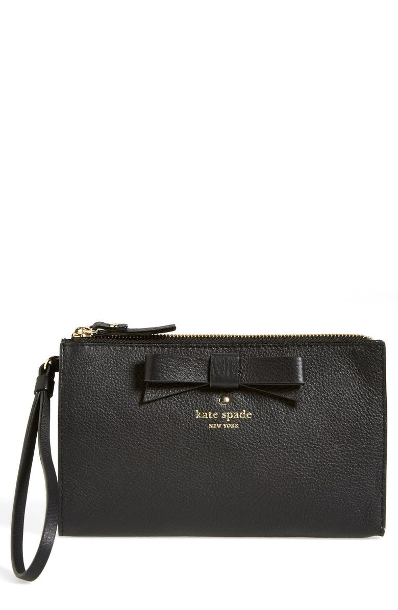 KATE SPADE NEW YORK 'north court - bow leyna' pebbled leather wristlet clutch, Main, color, 001