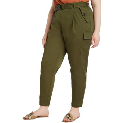 Plus Size Eloquii Sateen Stretch Cotton Cargo Pants, Green