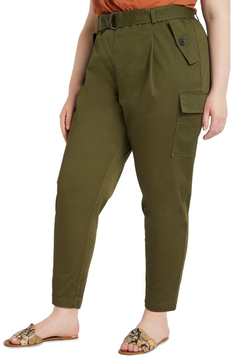 ELOQUII Sateen Stretch Cotton Cargo Pants, Main, color, OLIVE