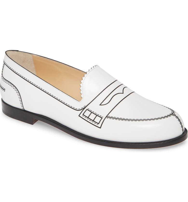 CHRISTIAN LOUBOUTIN Mocalaureat Loafer, Main, color, WHITE/ BLACK