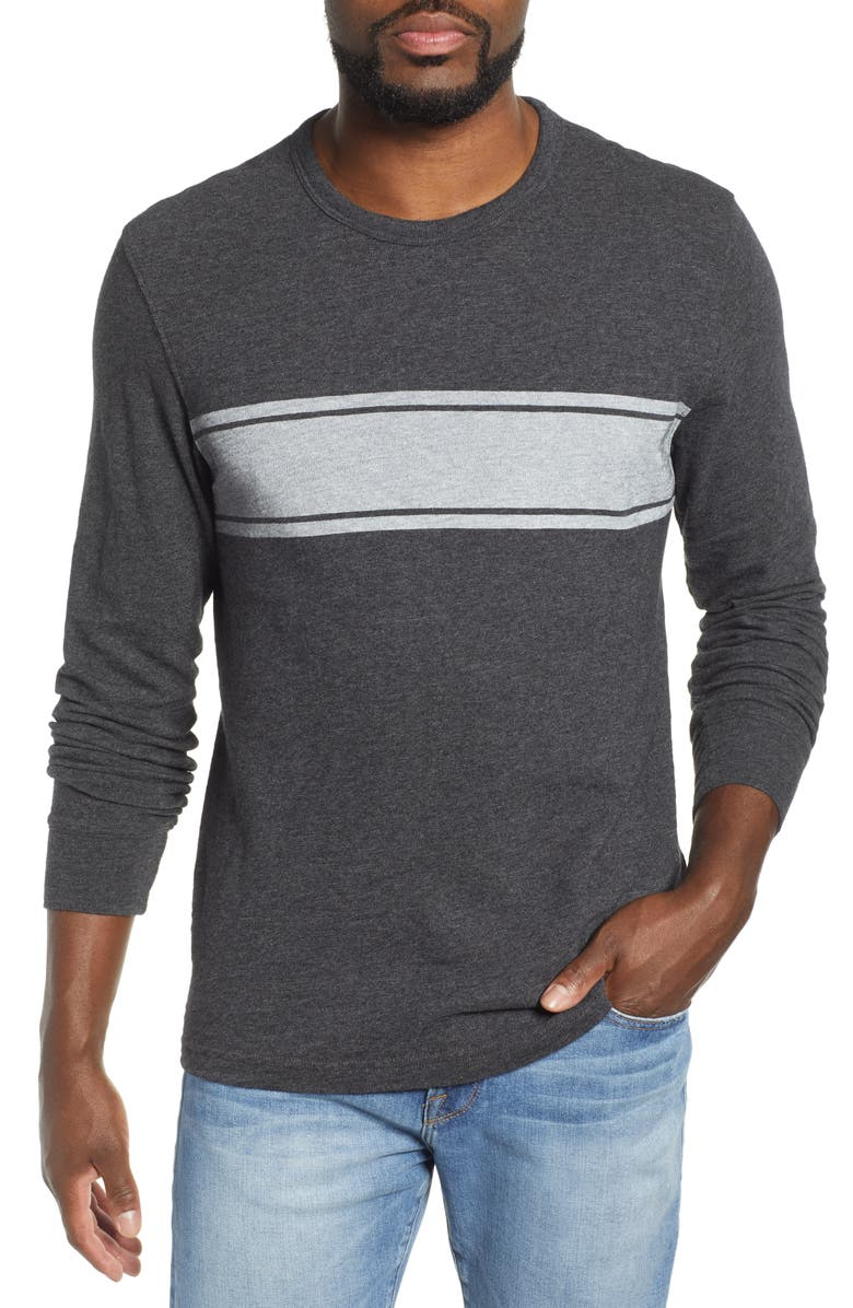 FAHERTY Slub Stripe Long Sleeve T-Shirt, Main, color, BLACK HEATHER