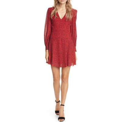 Alice + Olivia Polly Red Leopard Print Long Sleeve Fit & Flare Dress, Red