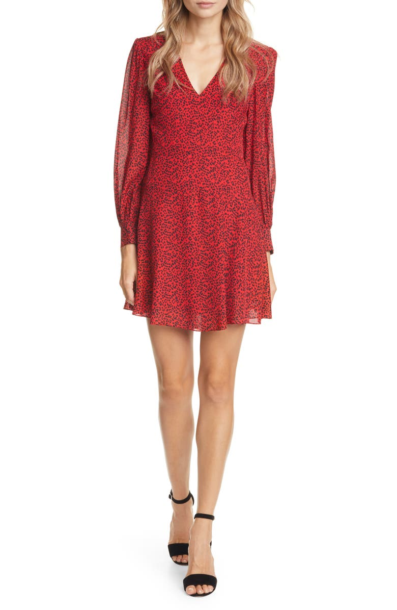 ALICE + OLIVIA Polly Red Leopard Print Long Sleeve Fit & Flare Dress, Main, color, MINI LEOPARD RUBY/ BLACK